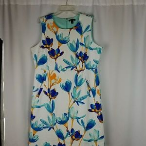 Lands End 18 White Floral Pocket Sleeveless Dress